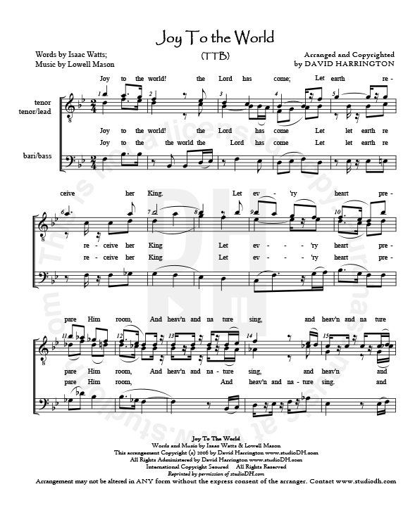 Sheet Music And Lyrics To Joy To The World: TTB COMBO (Arrangement + Instrumental