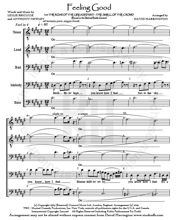 """Feeling Good"""" – men's 5-part COMBO (Arrangement +"""